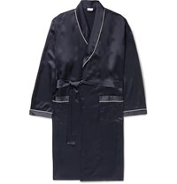 Zimmerli Piped Silk Robe Blue
