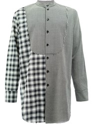 Song For The Mute Contrast Checked Bib Shirt Polyester Wool Black