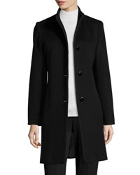 Fleurette Mock Neck Wool Coat Black