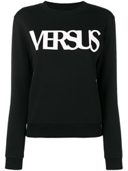 Versus Long Sleeve Logo Print Sweatshirt Black