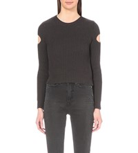 Allsaints Ria Cropped Knitted Jumper Coal Black