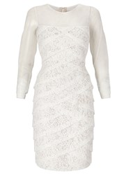 Adrianna Papell Long Sleeve Lace Cocktail Dress White
