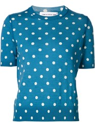 Comme Des Gara Ons Girl Shortsleeved Polka Dot Jumper Blue