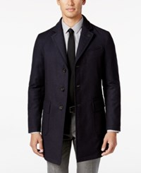 Sanyo Men's Chesterfield Houndstooth Down Overcoat Midnight