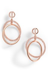 Nordstrom Pave Interlock Circle Earrings Clear Rose Gold