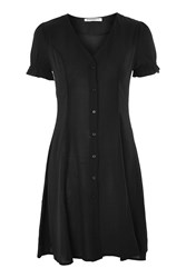 Topshop Button Front Short Sleeve Shirt Dress By Glamorous Tall Black