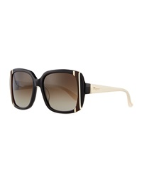 Striped Square Sunglasses Black Salvatore Ferragamo
