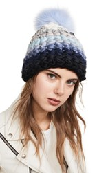 Mischa Lampert Stripe Beanie Hat Blue Multi