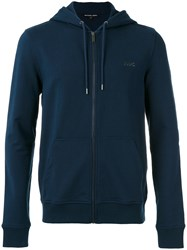 Michael Kors Zip Up Jacket Men Cotton Spandex Elastane L Blue