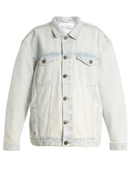 Raey Long Line Western Denim Jacket Blue White