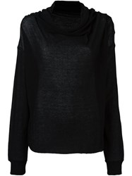 Unravel Shawl Collar Top Black