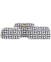 Tommy Hilfiger Th Signature 3 In 1 Logo Canvas Cosmetics Case White Navy