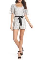 Ali And Jay Tower Bar Lace Romper White Black Lace