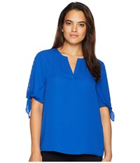 Ivanka Trump V Neckline Blouse With Tie Sleeves And Open Neckline Sea Blue Clothing