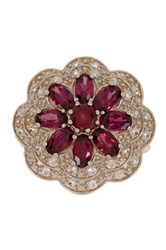 Savvy Cie Rhodolite And White Zircon Flower Ring Metallic