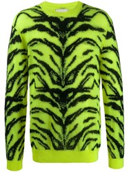 Laneus Knitted Zebra Jumper Green