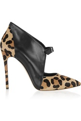 Casadei Leather And Leopard Print Calf Hair Ankle Boots