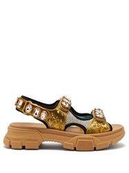 Gucci Aguru Crystal Embellished Leather And Mesh Sandals Gold