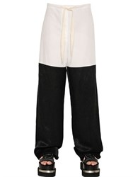 Maison Martin Margiela Cotton Poplin And Draped Viscose Pants