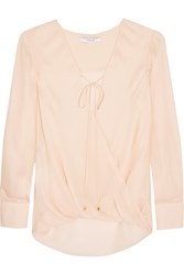 10 Crosby By Derek Lam Wrap Effect Silk Crepe De Chine Top Pink