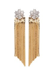 Venna Glass Crystal Snowflake Fringe Drop Jacket Earrings Metallic