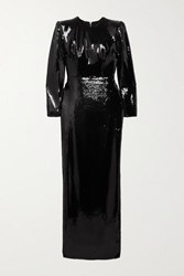 Alex Perry Hutton Sequined Satin Gown Black