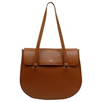 Tula Originals Leather Medium Flapover Tote Bag Tan