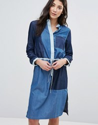 Neon Rose Panelled Denim Shirt Dress Blue