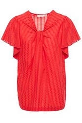 Vanessa Bruno Woman Leria Knotted Jacquard Blouse Red