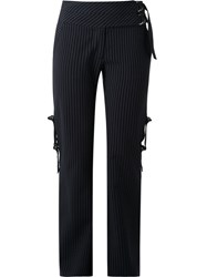 Giuliana Romanno Pinstripe Flared Trousers Blue