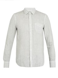 120 Lino Point Collar Linen Shirt Light Grey