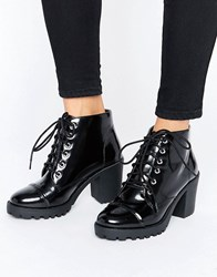 London Rebel Lace Up Chunky Boot Black Box Pu Lace