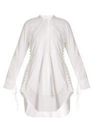 Chloe Granddad Collar Cotton Voile Dress White
