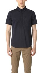 Club Monaco Short Sleeve Knit Popover Navy