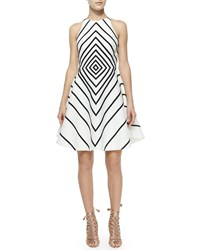 Halston Sleeveless Geometric A Line Dress Linen White Black
