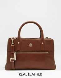 Ri2k Leather Tote Bag With Zip Detail Cognac