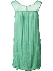 Twin Set Sheer Panel Shift Dress Green