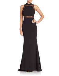 Vera Wang Mock Turtleneck Sleeveless Illusion Gown Black