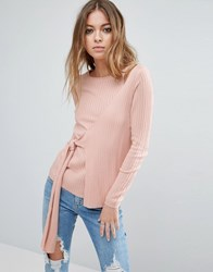 Asos Wrap Sweater In Rib With Tie Pink