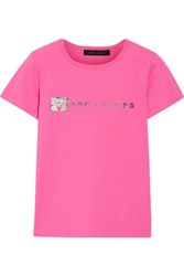 Marc Jacobs Embellished Cotton Jersey T Shirt Pink