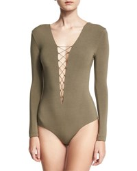 Alexander Wang Lace Up Stretch Jersey Bodysuit Forest
