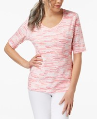 Karen Scott Printed V Neck Top Created For Macy's Peony Coral Combo