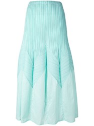 Issey Miyake Vintage Long A Line Pleated Skirt Green