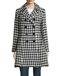 Sofia Cashmere Houndstooth Double Breasted Princess Coat Black White