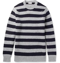 Connolly Stirling Striped Wool And Cashmere Blend Sweater Gray
