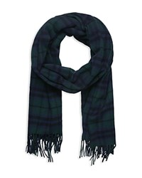 The Kooples Wool Checked Scarf Navy
