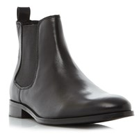 Dune Montpelier Round Toe Leather Chelsea Boots Black