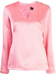 Brandon Maxwell Textured Blouse Pink