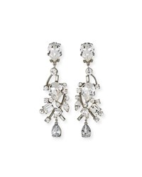 Jose And Maria Barrera Mixed Cut Crystal Clip On Earrings Silver
