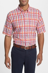 Cutter And Buck 'Twin Lakes Plaid' Classic Fit Short Sleeve Seersucker Sport Shirt Multi Red